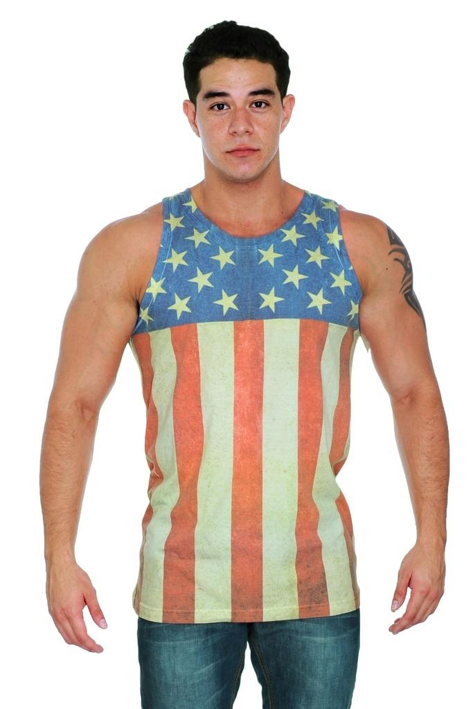 Men 39 S Sleeveless Shirt Sublimated Stars And Stripes Usa