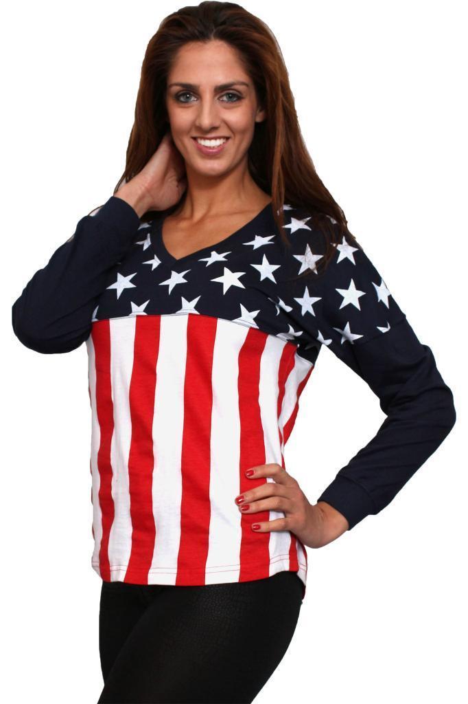 Women 39 s juniors usa flag v neck long sleeve shirt stars for Ladies american flag t shirt