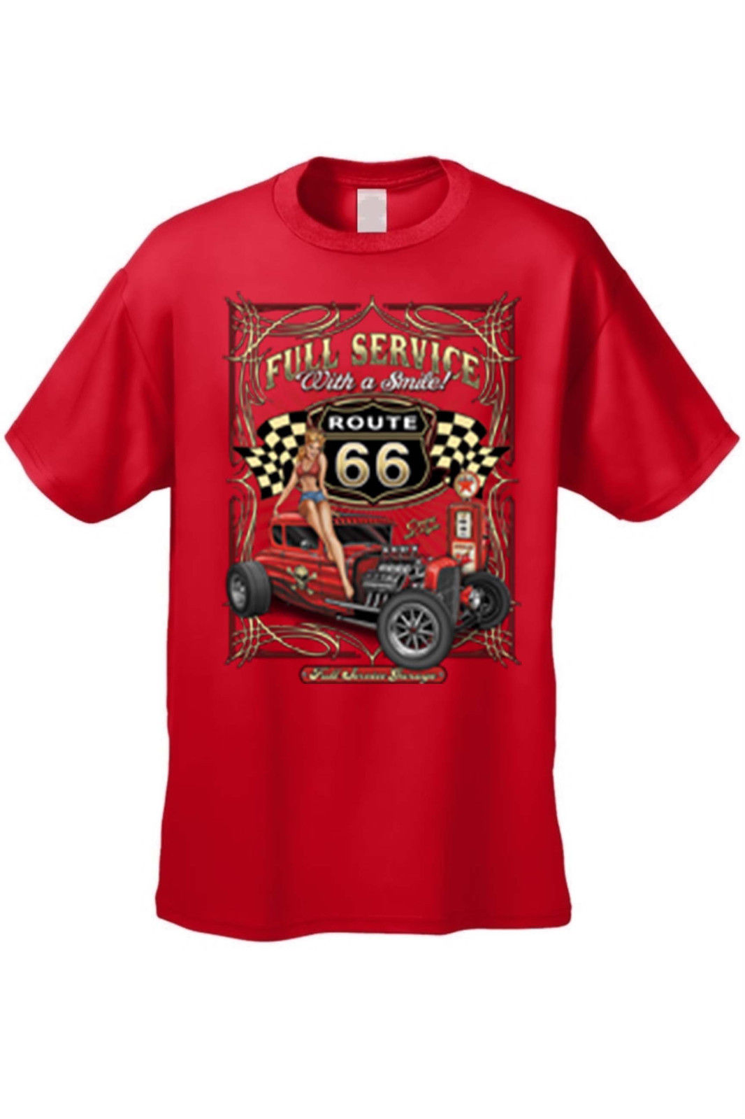 Men 39 s vintage auto t shirt full service with a smile route for Warson motors t shirt