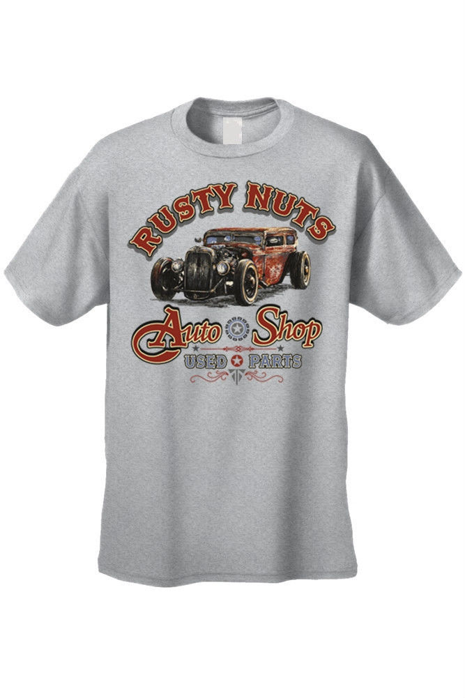 Men 39 s t shirt rusty nuts auto shop used parts car for Shop mens t shirts
