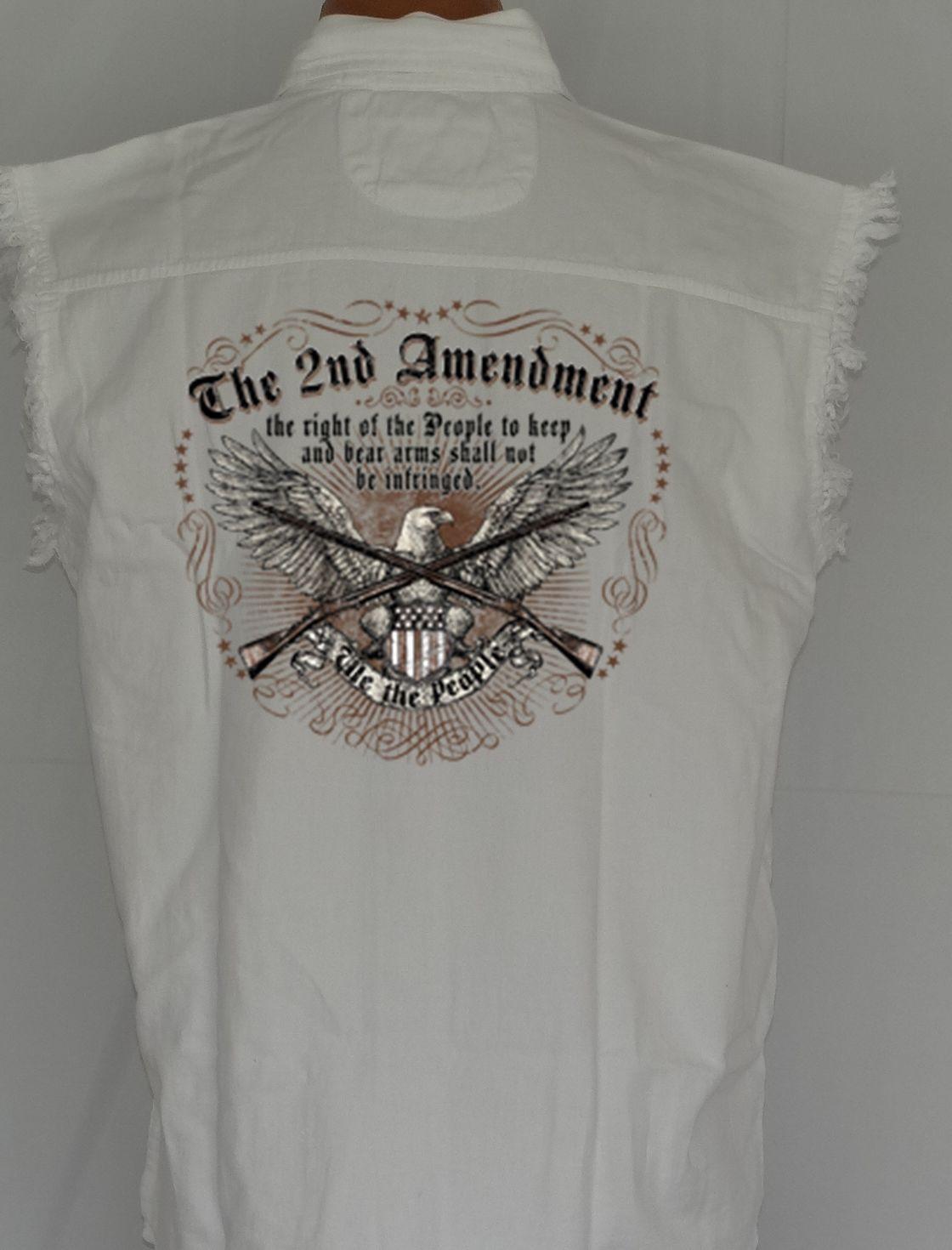 MEN-039-S-BIKER-SLEEVELESS-DENIM-SHIRT-The-2nd-Amendment-EAGLE-GUNS-M-XL-2X-3X-4X-5X