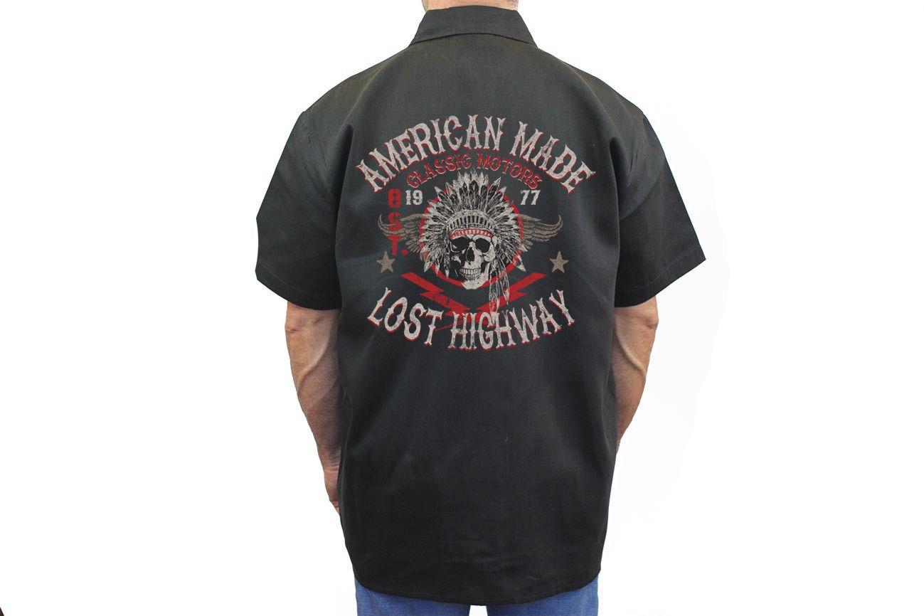 Men 39 s biker mechanic work shirt lost highway indian skull for Usa made work shirts