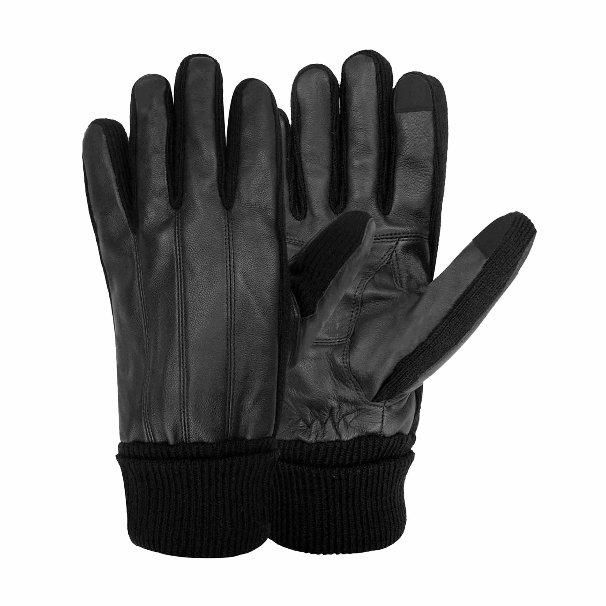 Black gloves mens - Stafford Men 39 S Genuine Leather Thinsulate Lined Texting Gloves Black