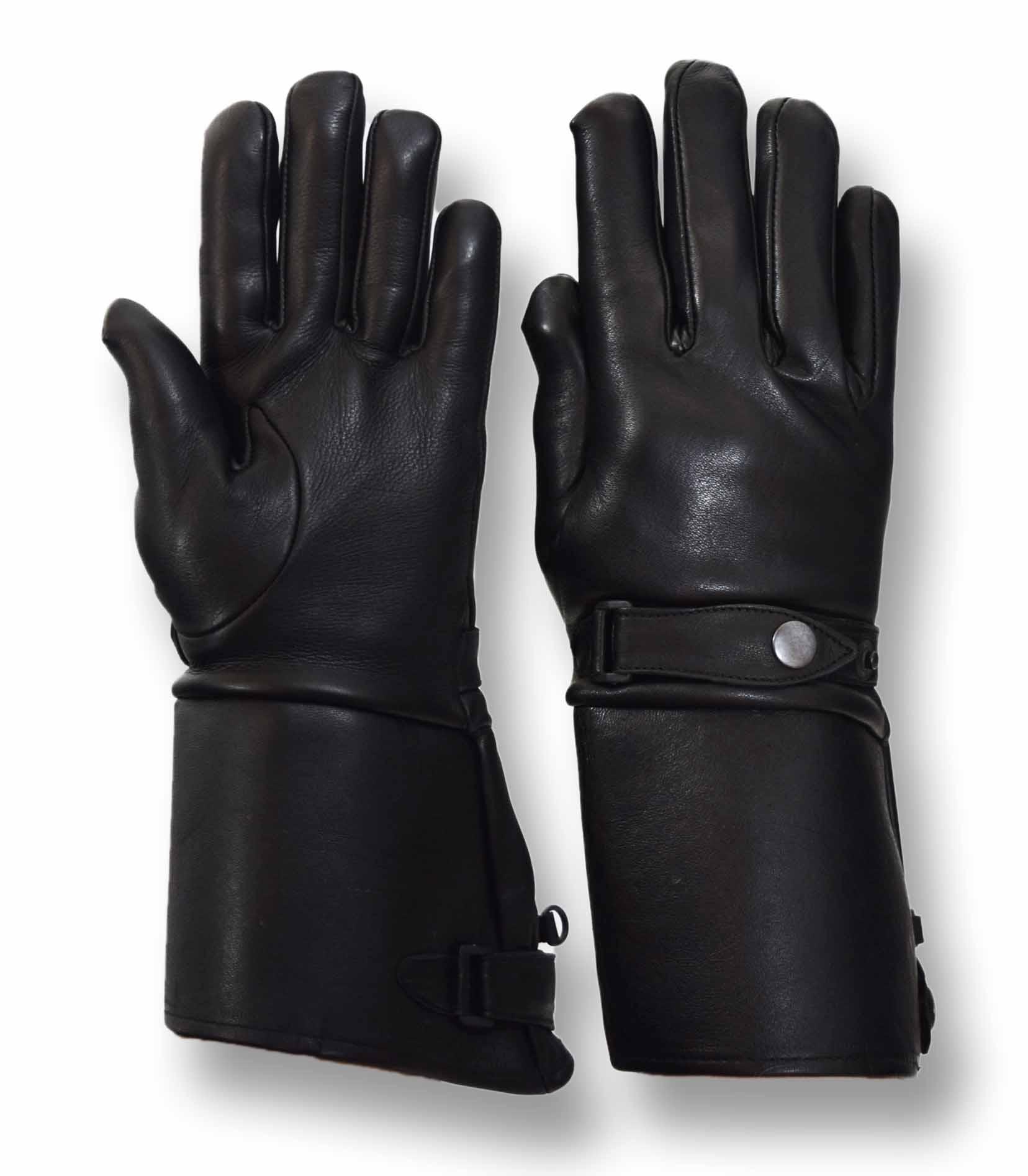 Motorcycle gloves deerskin - Vance Leathers Men S Premium Deerskin Gauntlet Motorcycle Gloves Black
