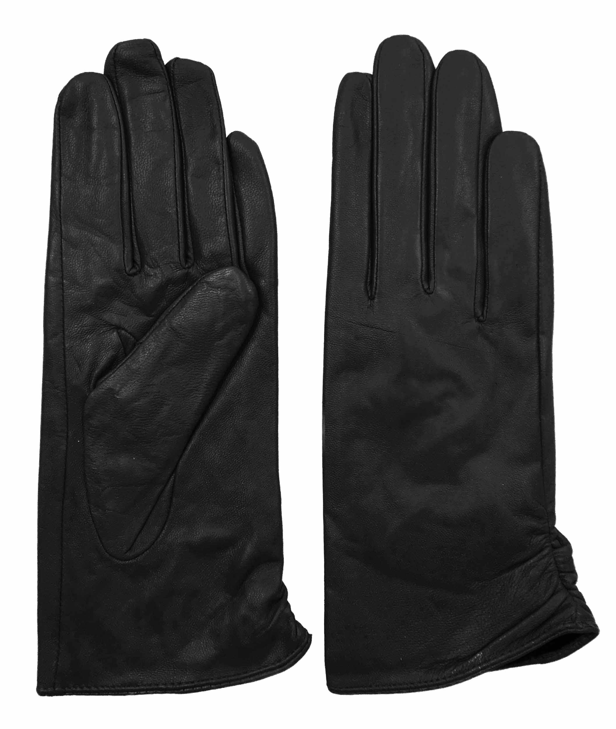 Womens lined leather gloves - Giromy Samoni Womens Plush Lined Leather Gloves With Decorative Ruching Black
