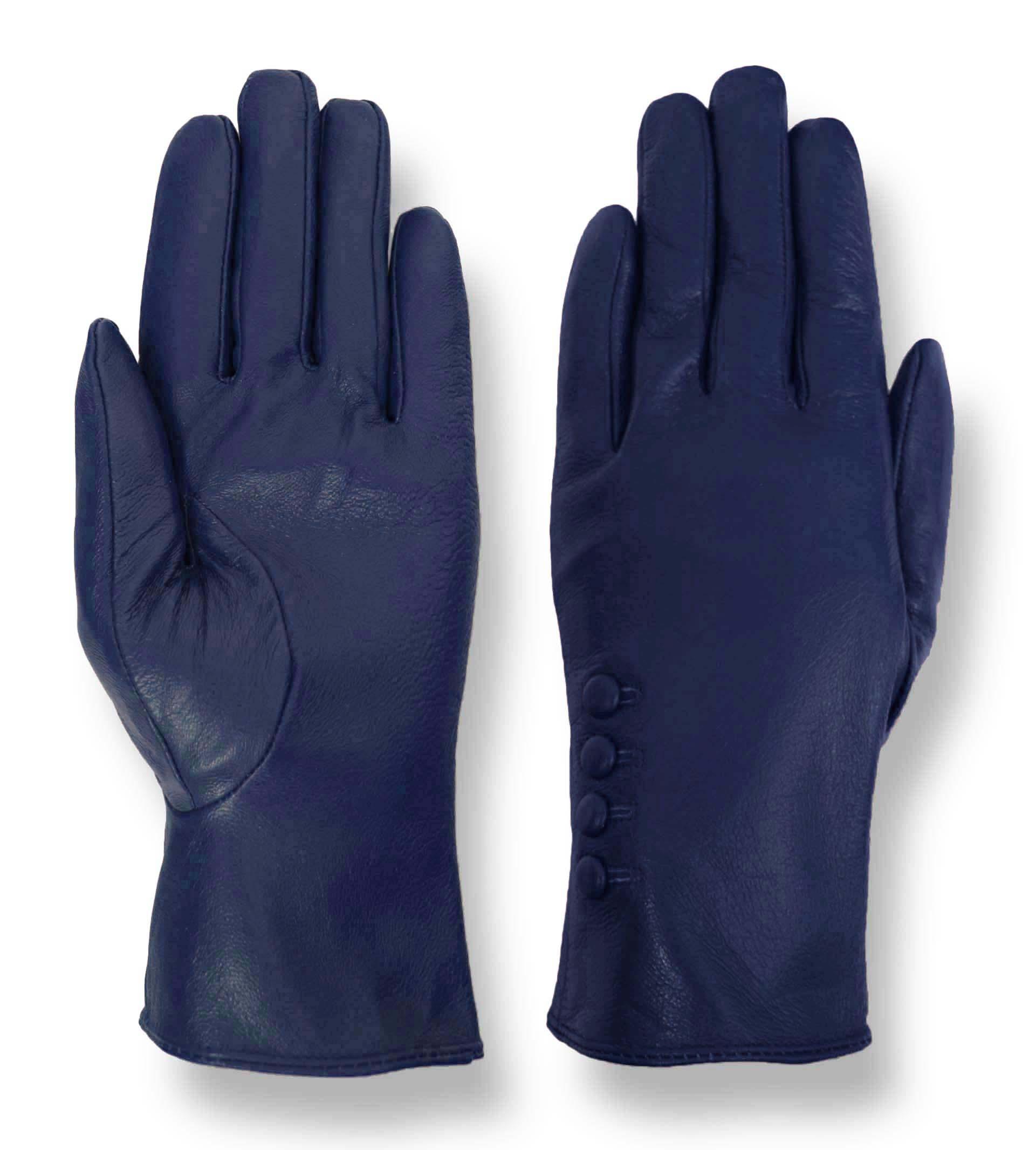 Blue leather driving gloves - Giromy Samoni Women S Plush Lined 4 Button Dress Leather Driving Gloves Blue