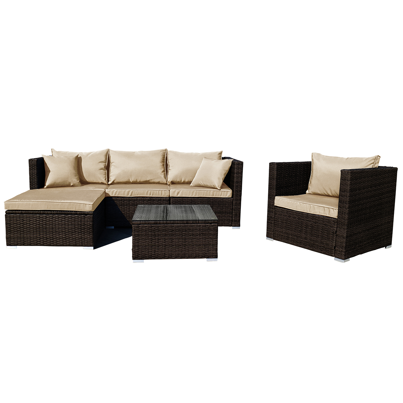 patio furniture rattan wicker sectional sofa chair couch brown gray