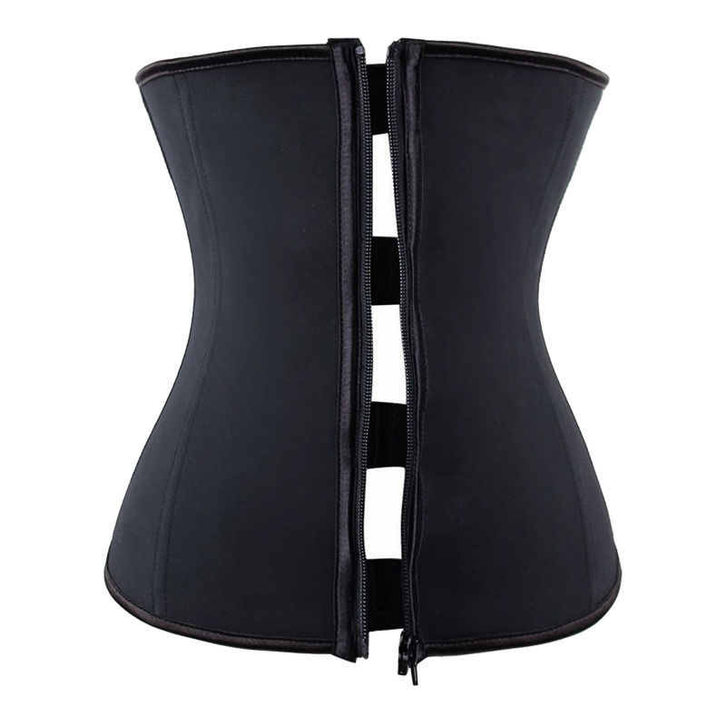 hooks and zipper rubber latex waist trainer cincher corset body slimming shaper ebay. Black Bedroom Furniture Sets. Home Design Ideas