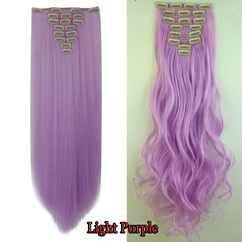 US 100% Real Clip In Hair Extensions 8Pcs Full Head 18clips Not Human Hair