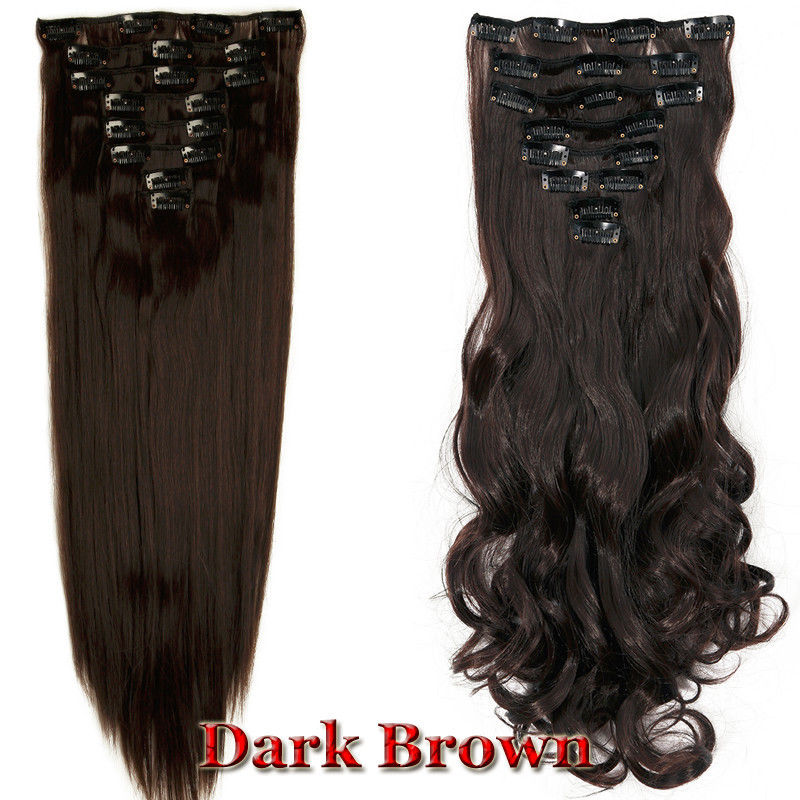 8 Pieces Full head Women Clip in Hair Extension Long Curly Wavy Thick Ombre Remy