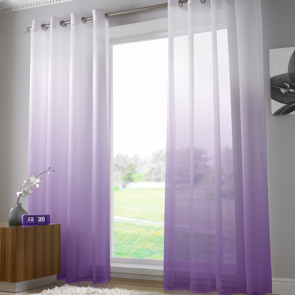 bright modern net voile curtain panel eyelet grommet panel. Black Bedroom Furniture Sets. Home Design Ideas