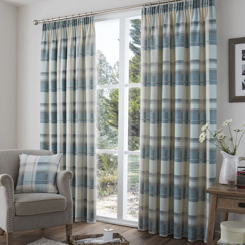 Cream and blue curtains 2