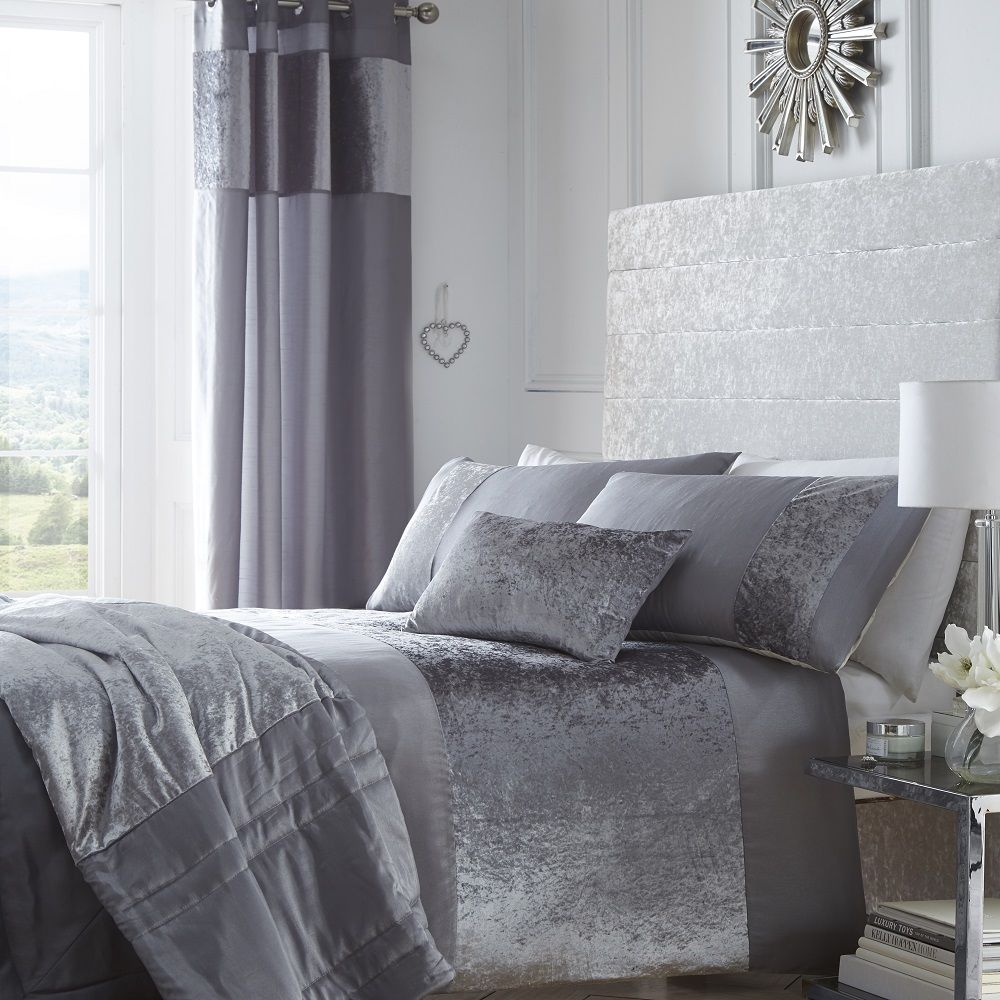 Gray Velvet Coverlet : Portofino luxury crushed velvet duvet bedding set