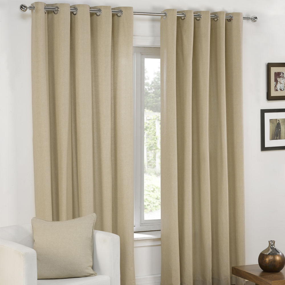 Plain Eyelet Grommet Fully Lined Pair Window Curtains