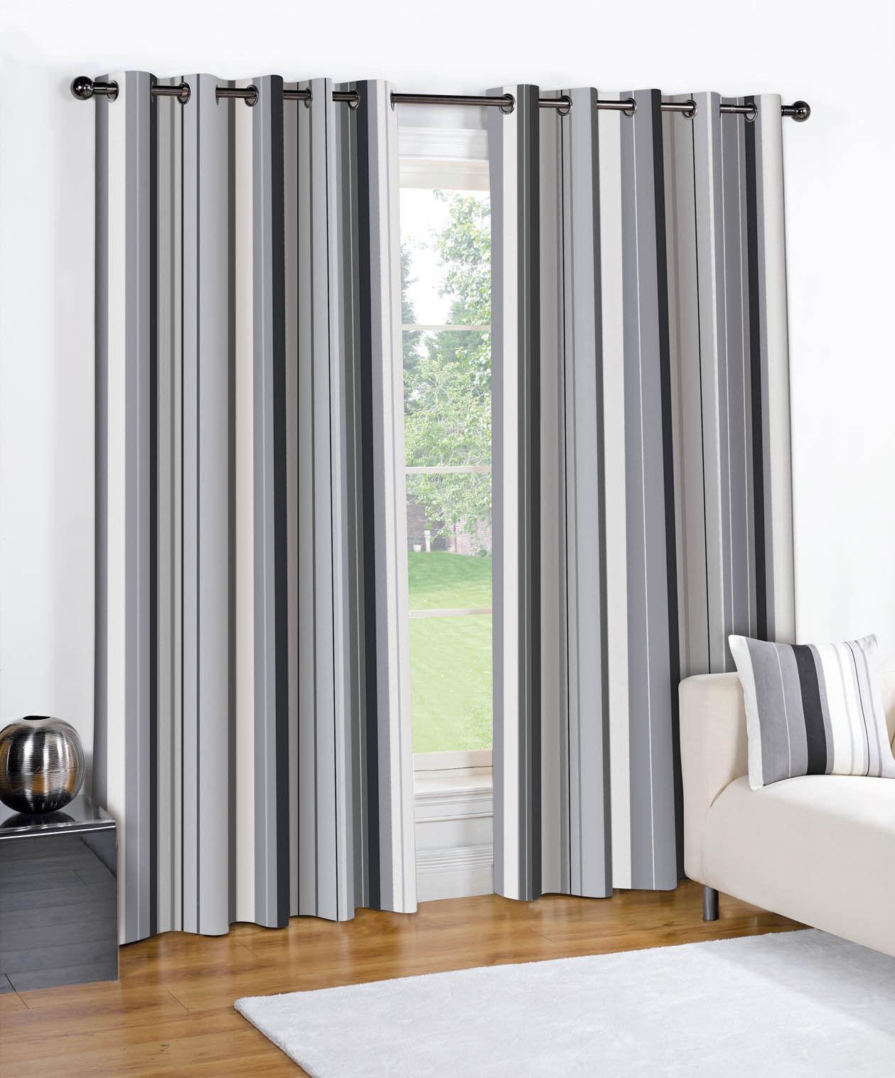 Striped Grommet Lined Pair Eyelet Ready Made 2 Drape Curtains Black Cream Blue Ebay