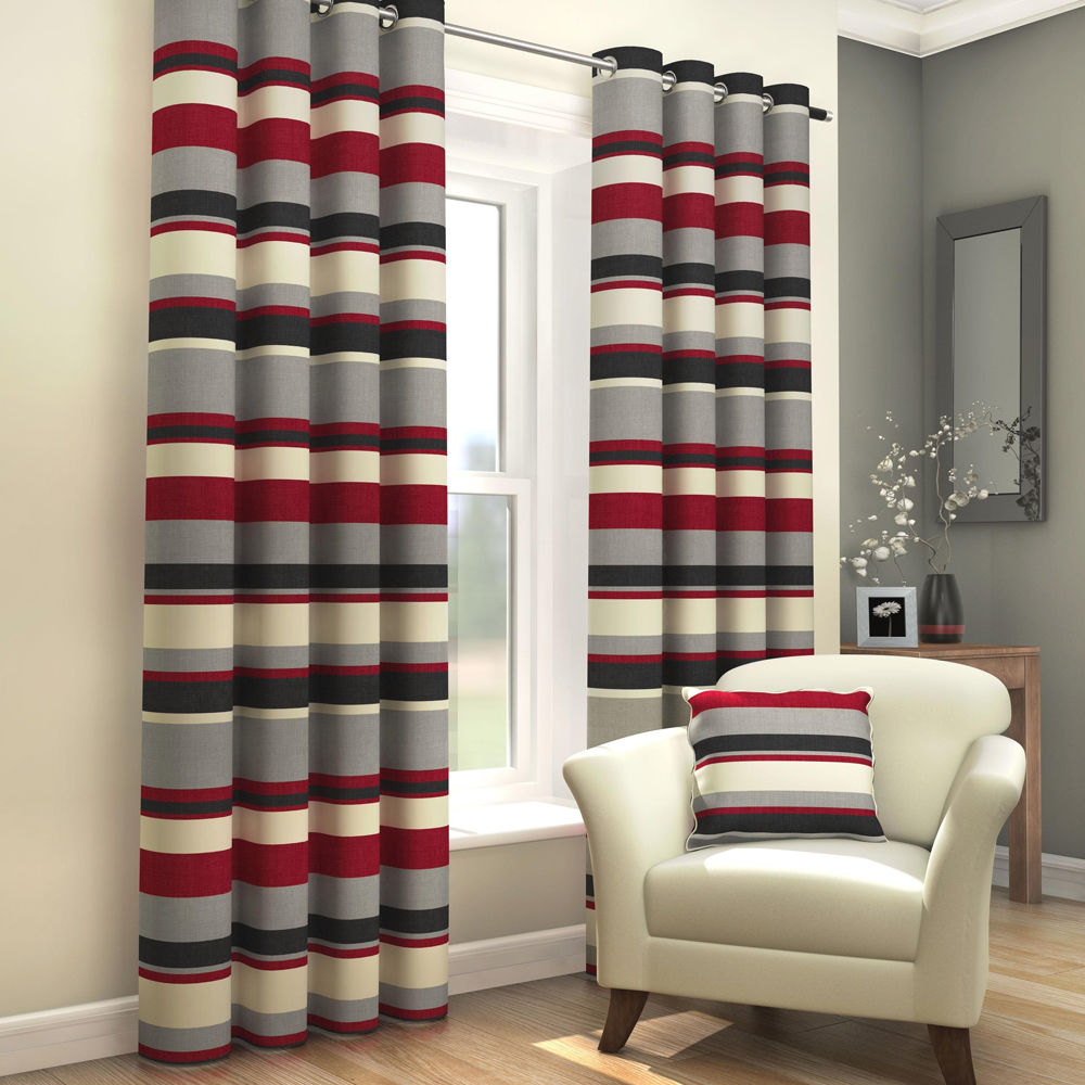 Striped Grommet Fully Lined Pair Eyelet Ready Made 2 Curtains Black Red Cream Ebay