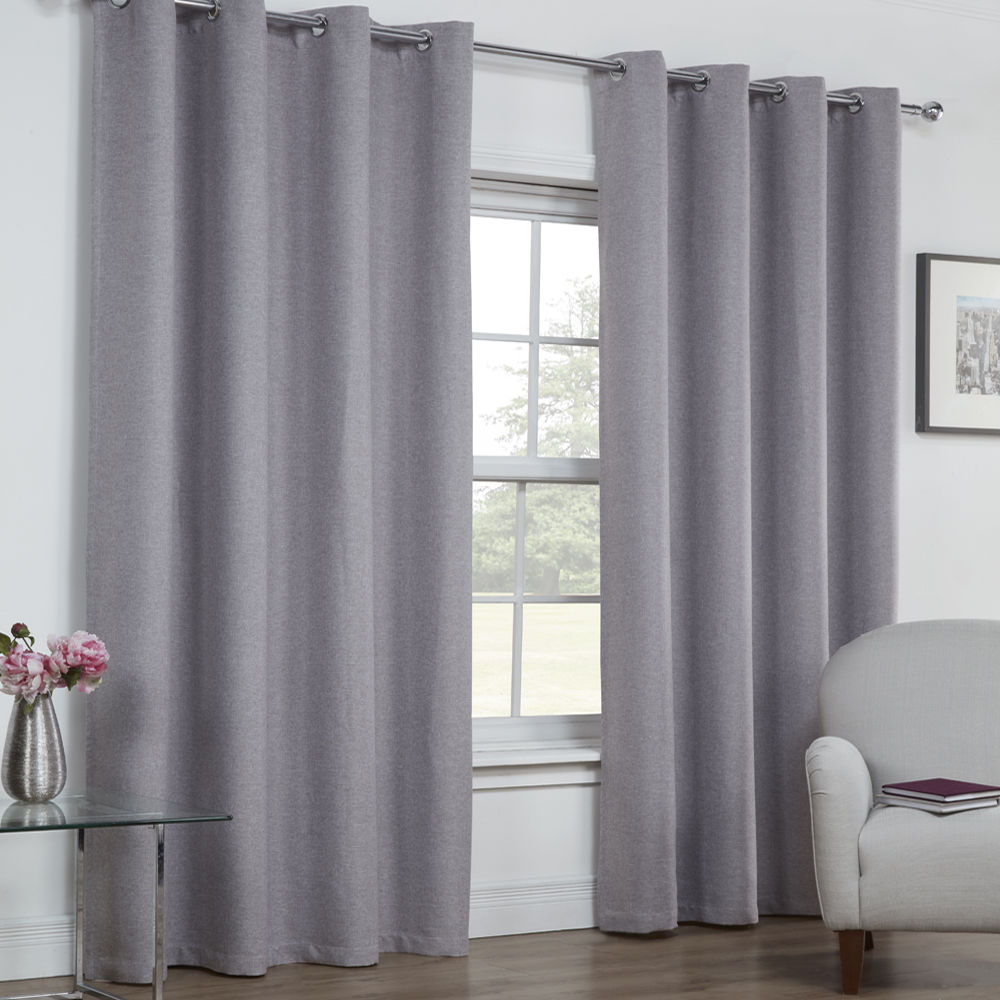 Textured woven plain thermal blackout linen look eyelet for Grommet curtains