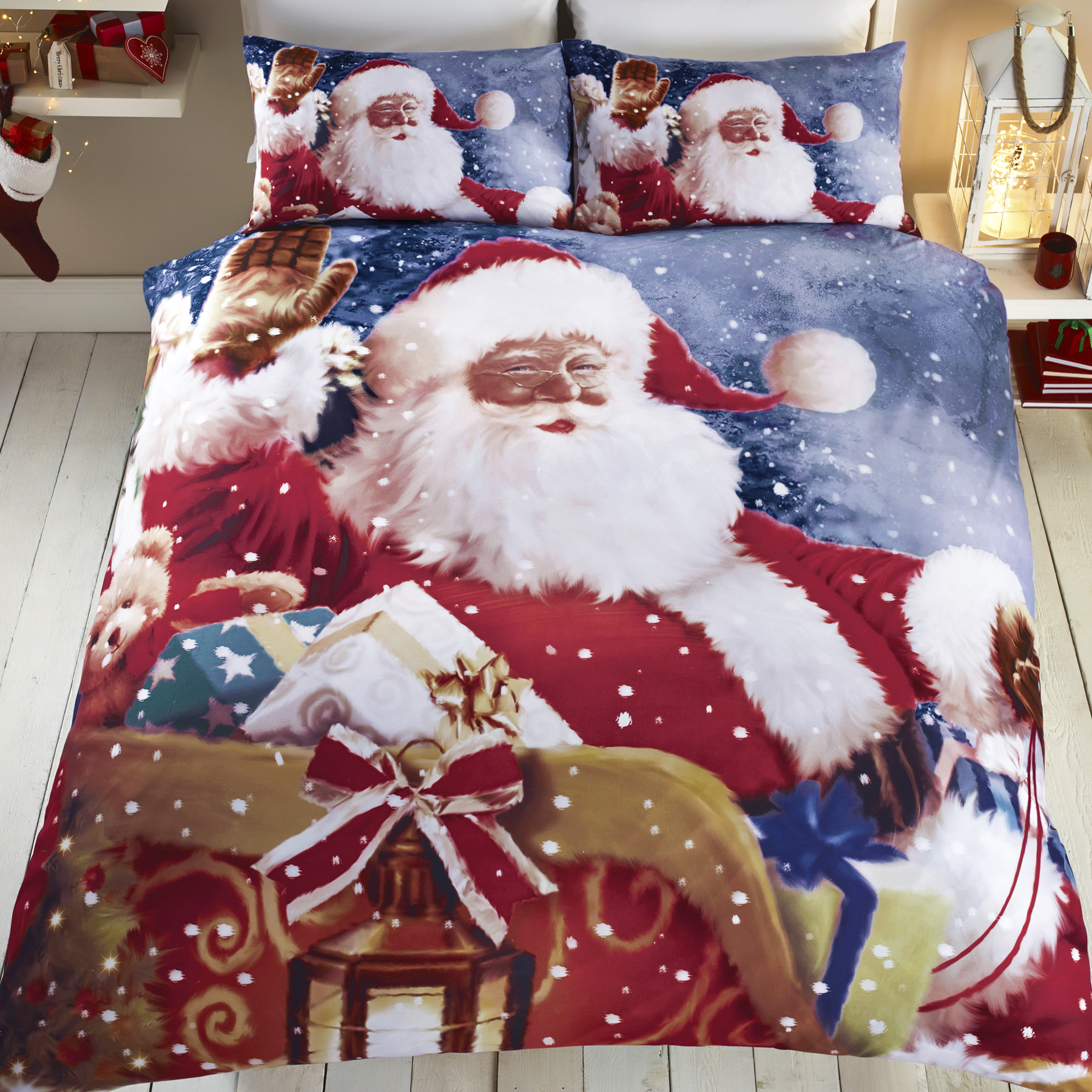 Christmas Holiday Santa Reindeer Quilt Duvet Comforter