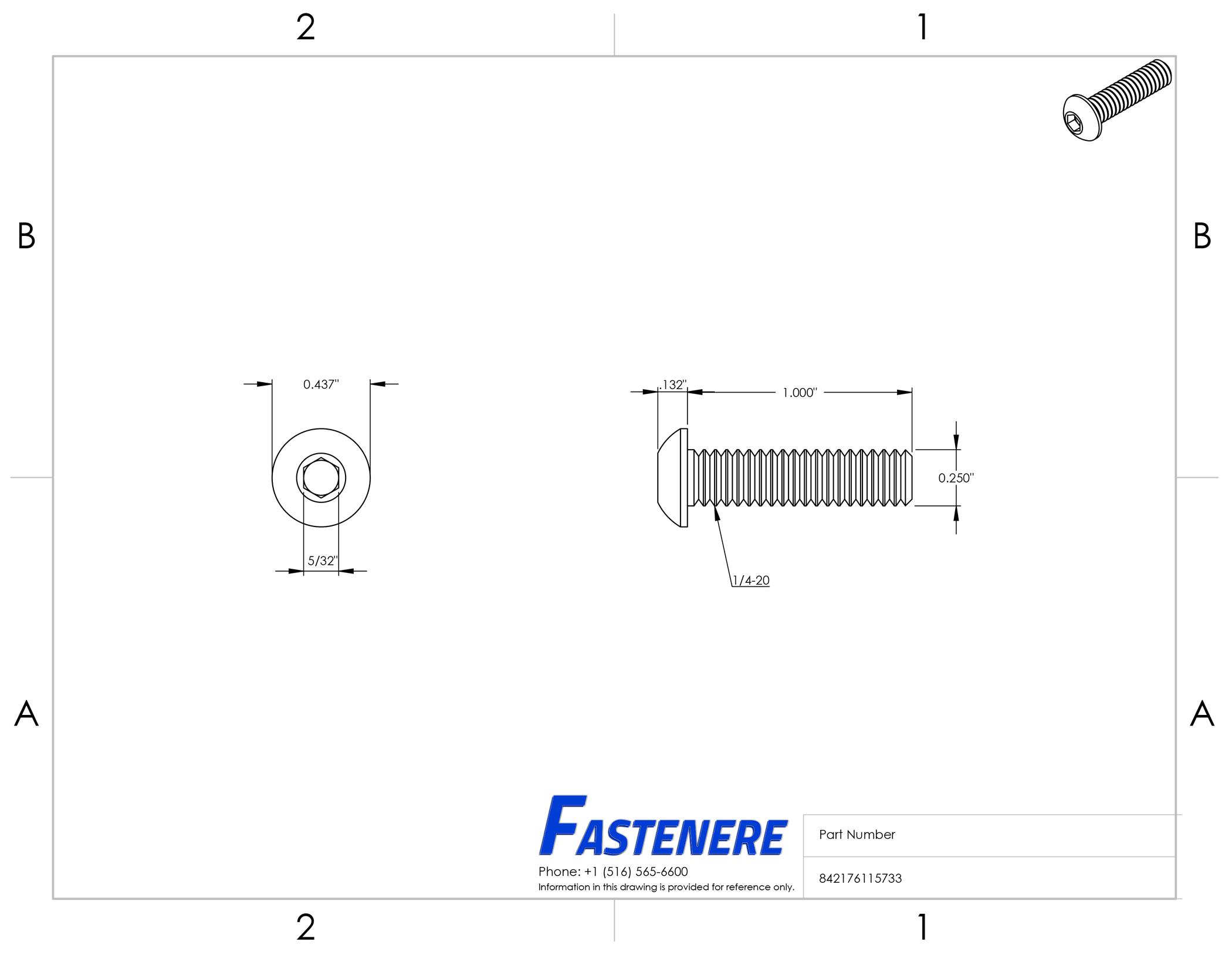 1/4-20 Button Head Socket Cap Screws Allen Bolts Hex Drive Stainless Steel 18-8