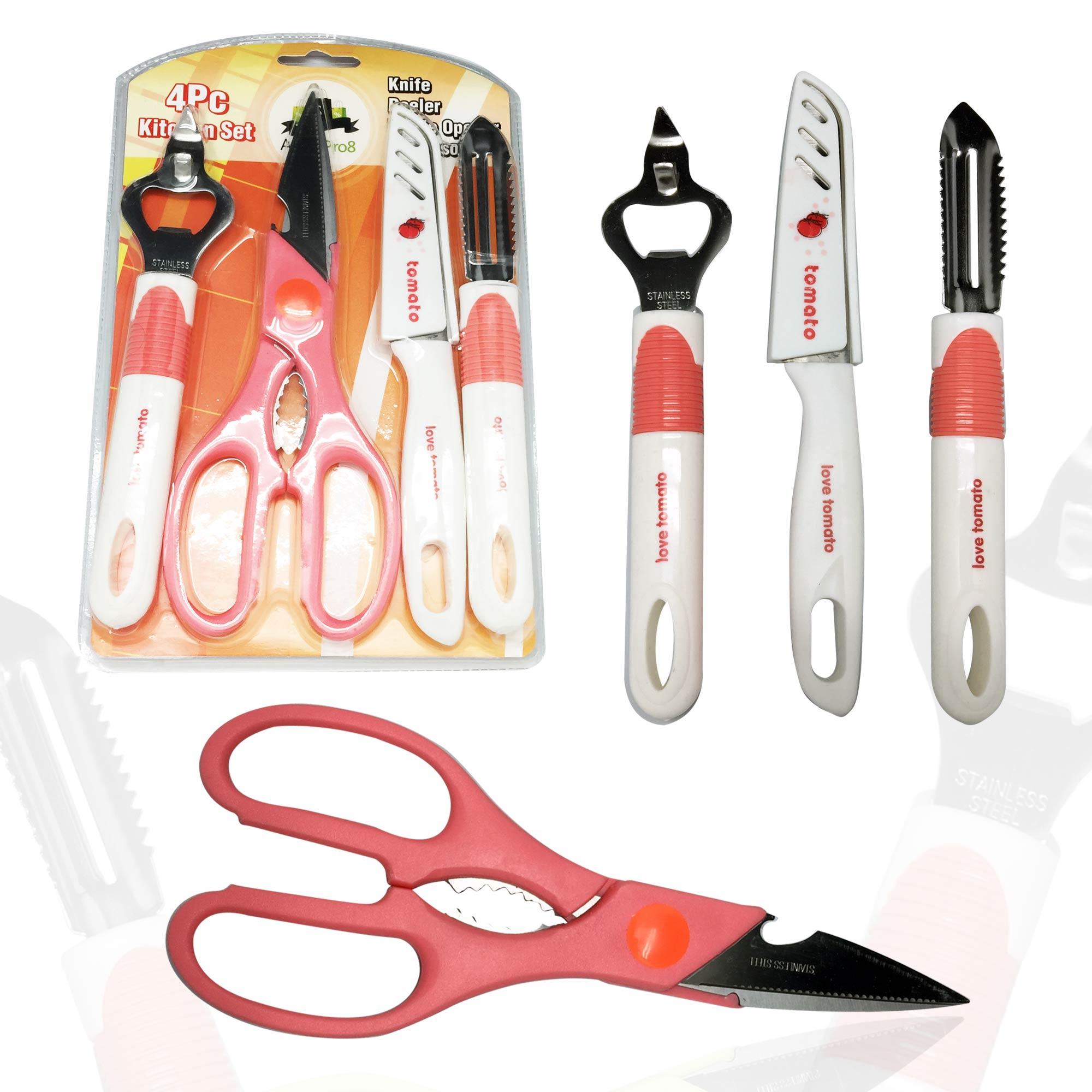 kitchen gadgets set knife peeler bottle opener and scissors home kitchen tools ebay. Black Bedroom Furniture Sets. Home Design Ideas