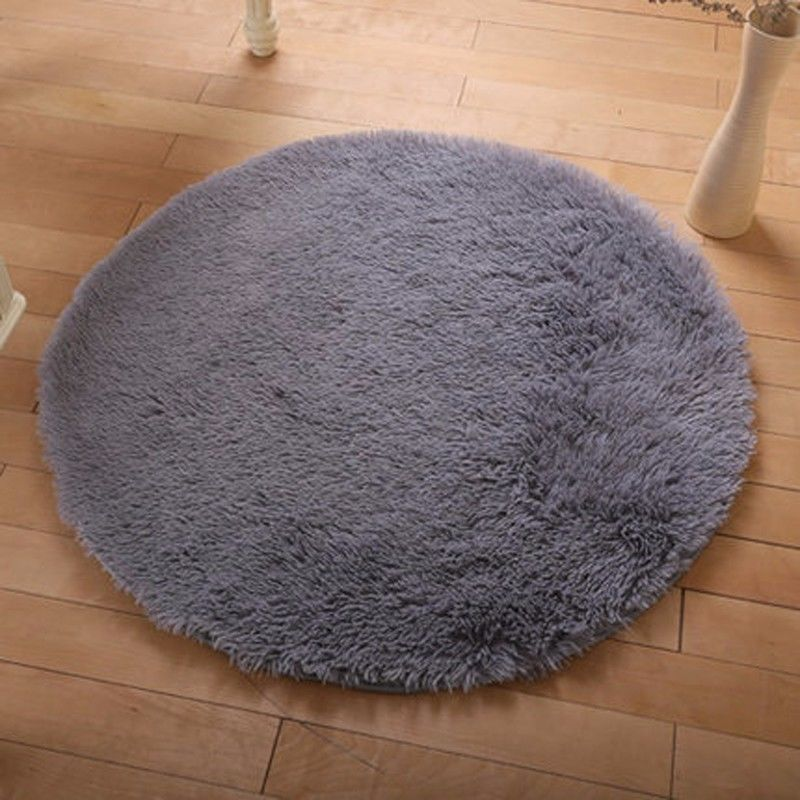 Round Fluffy Rug Anti-Skid Shaggy Study Room Home Bedroom