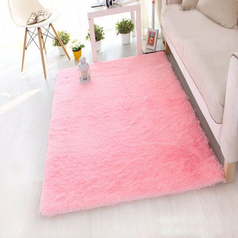 Rectangle Soft Fluffy Rug Anti-Skid Shaggy Study Room