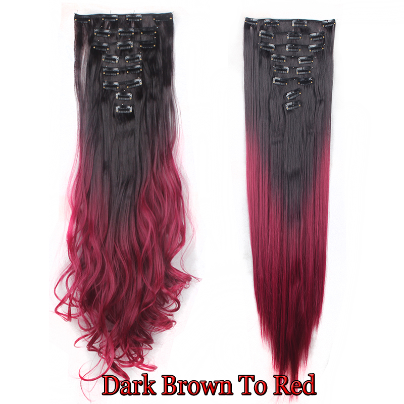 Ombre clip in hair extensions 8pcs 18clip long curly dip dye ombre clip in hair extensions 8pcs 18clip long pmusecretfo Image collections