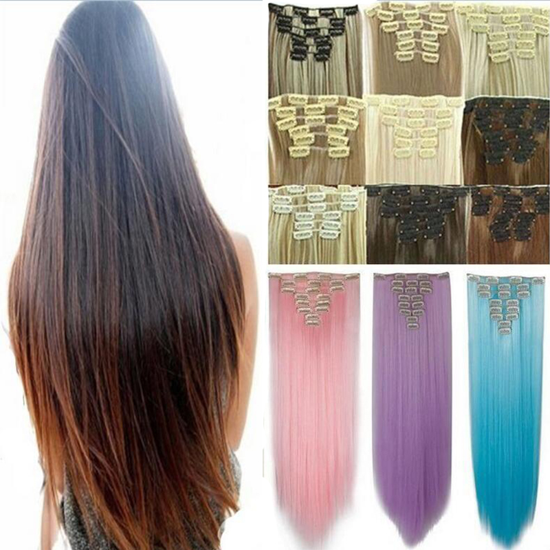 Ombre clip in hair extensions 8pcs 18clip long curly dip dye image is loading ombre clip in hair extensions 8pcs 18clip long pmusecretfo Gallery
