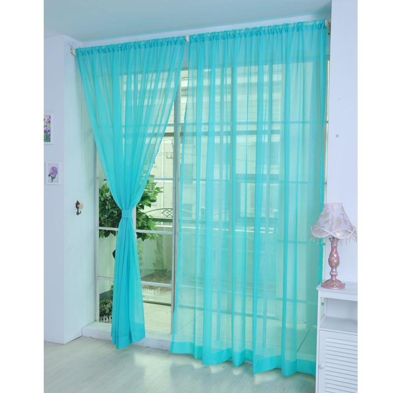 colorful door window voile curtain drape panels sheer scarf valances rod pocket ebay. Black Bedroom Furniture Sets. Home Design Ideas