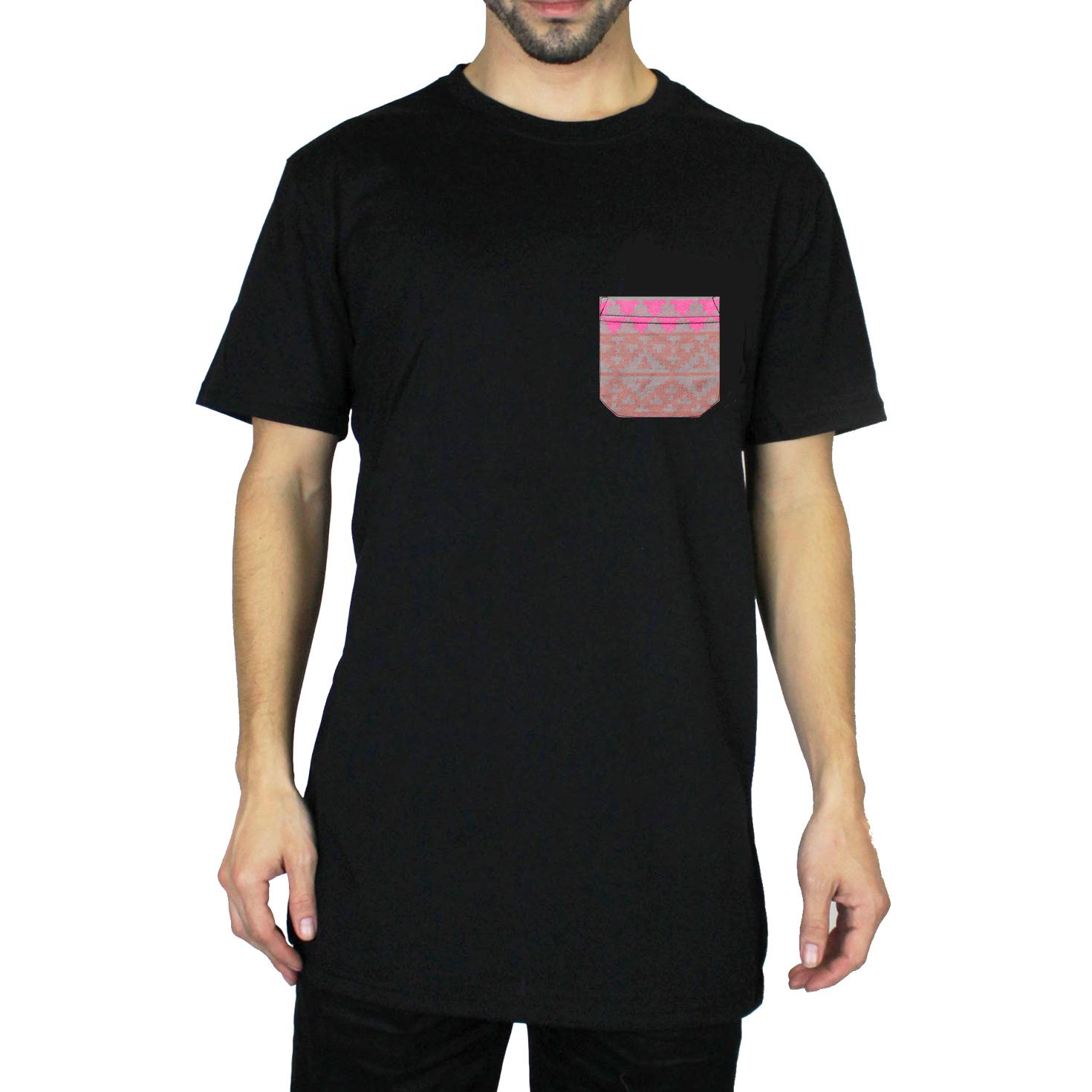 Beautiful giant men 39 s jacquard pocket t shirt crew neck for Mens crew neck tee shirts