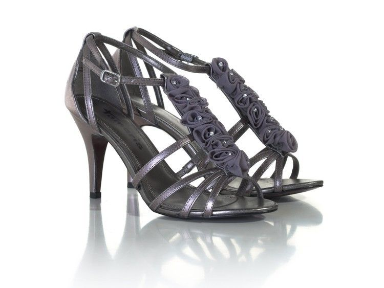 Tamaris Pewter Floral And Bead Detail Ankle Strap Stiletto Wedding Mid Heel