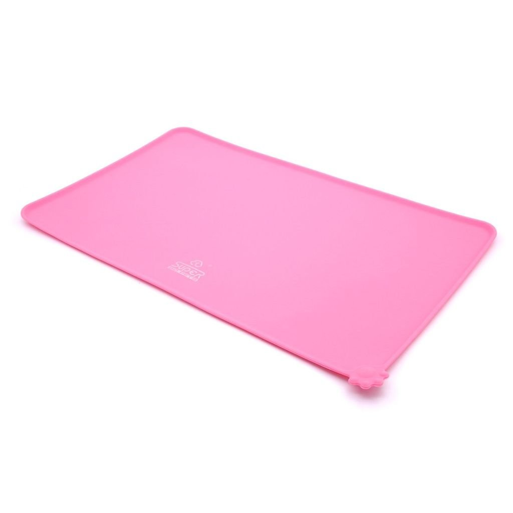 Pet Feeding Food Mat Tray For Dogs Cats Silicone Black