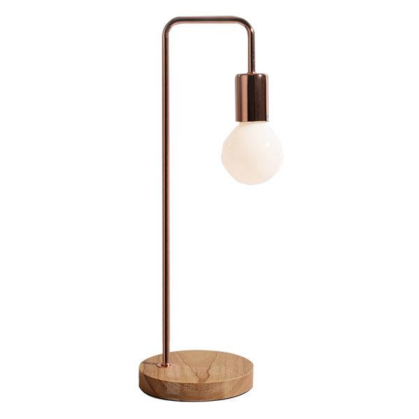 modern table lamp steel holder wooden base indoor lighting fitting bedside light ebay. Black Bedroom Furniture Sets. Home Design Ideas