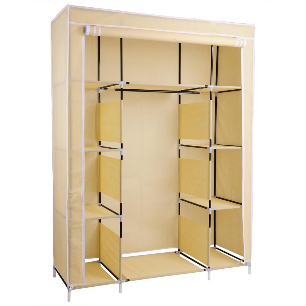 Portable wardrobe large easy assemble storage space organizer clothes closet ebay - Clothes storage for small spaces model ...