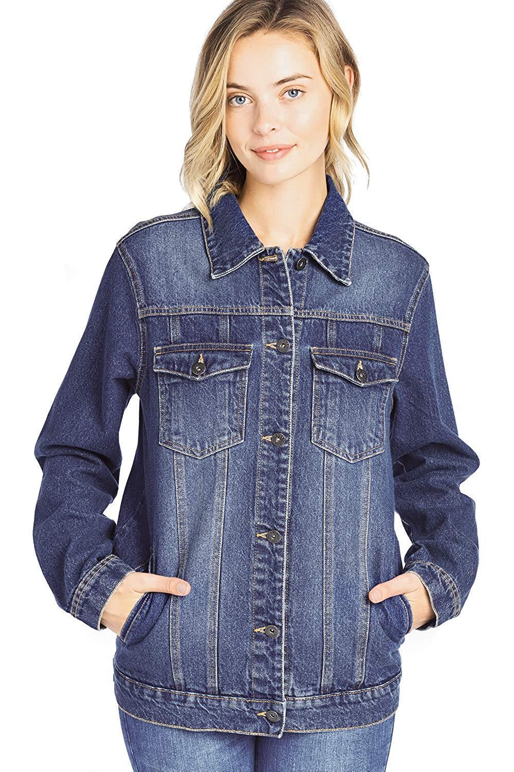 Women/'s Oversized Relaxed Loose Jean Denim Jacket Long Coat
