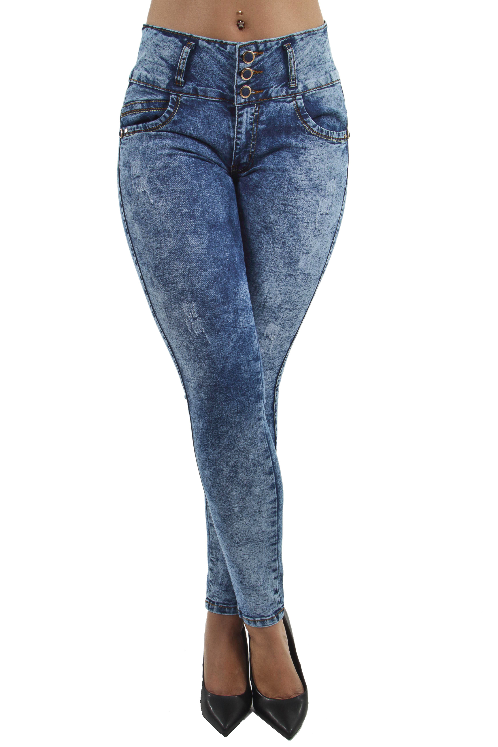 Women's Juniors Colombian Design Push Up Mid Waist Butt Lift Skinny Jeans