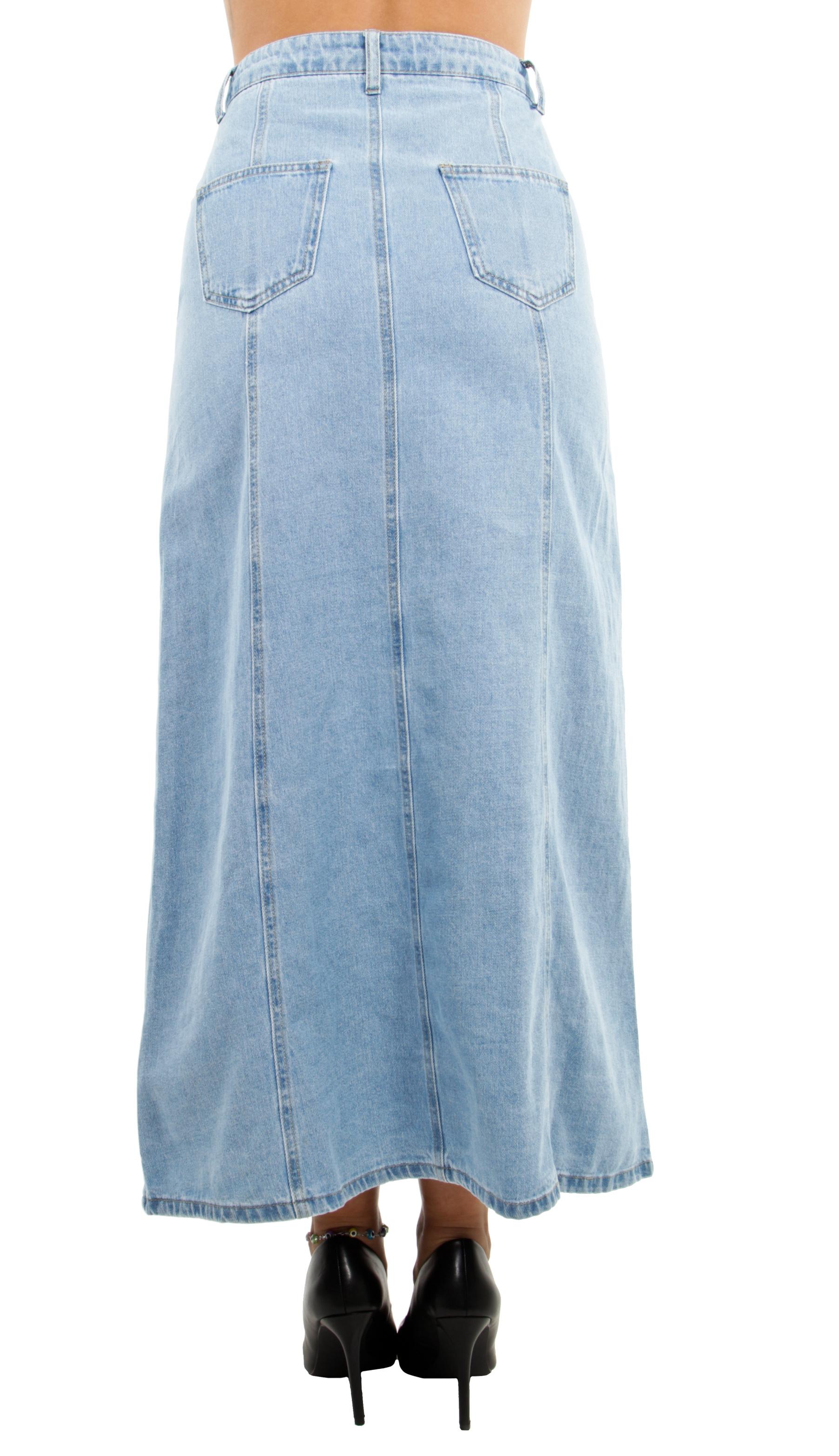 Women/'s Juniors High Waist 8-Gore Long Jeans Maxi Denim Skirt Buttons Down