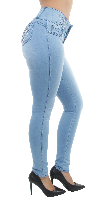 Women/'s Juniors Colombian Design Butt Lift Mid Waist Push Up Skinny Jeans