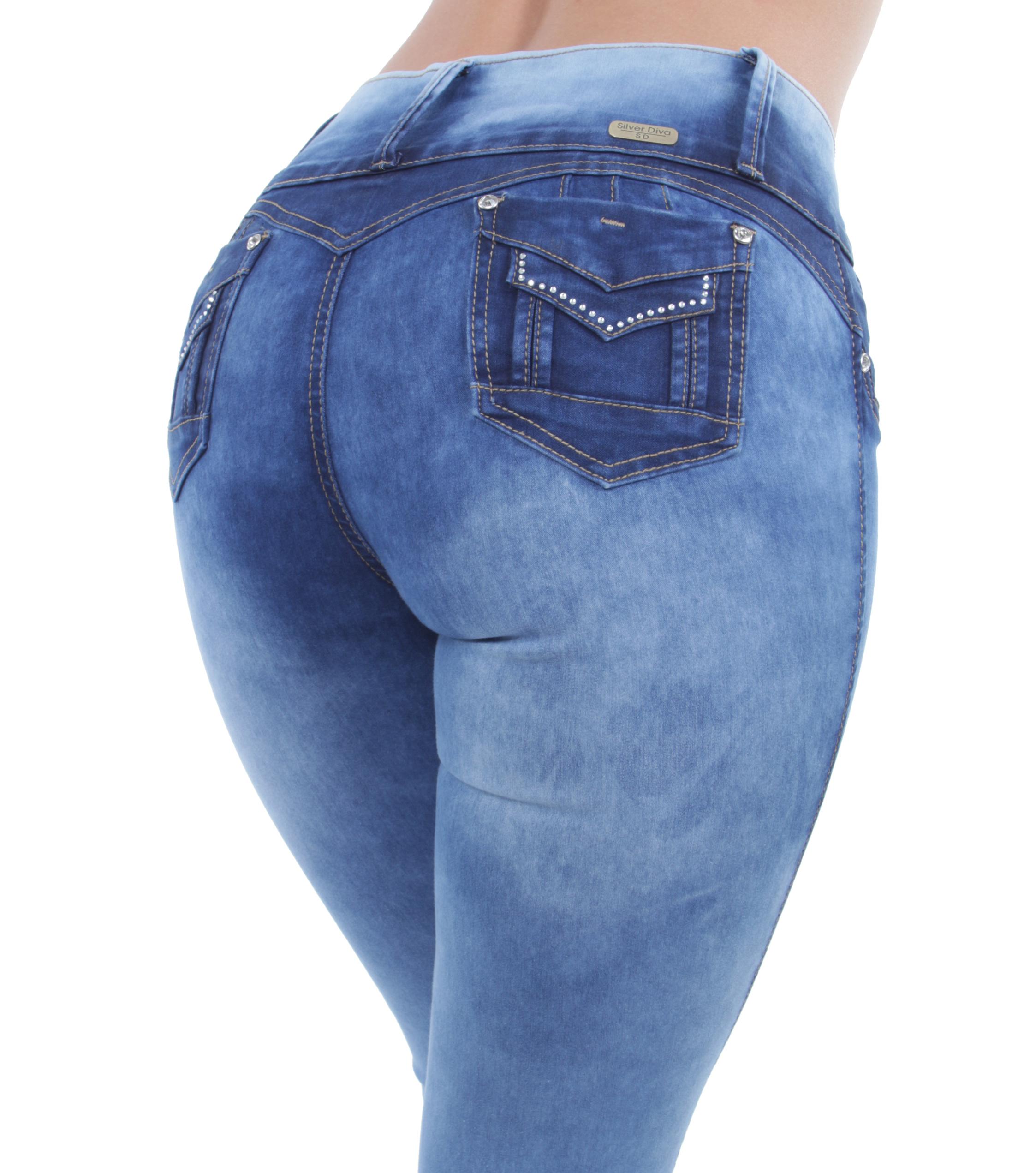 Butt Lift Mid Waist Women/'s Juniors Colombian Design Push Up Skinny Jeans