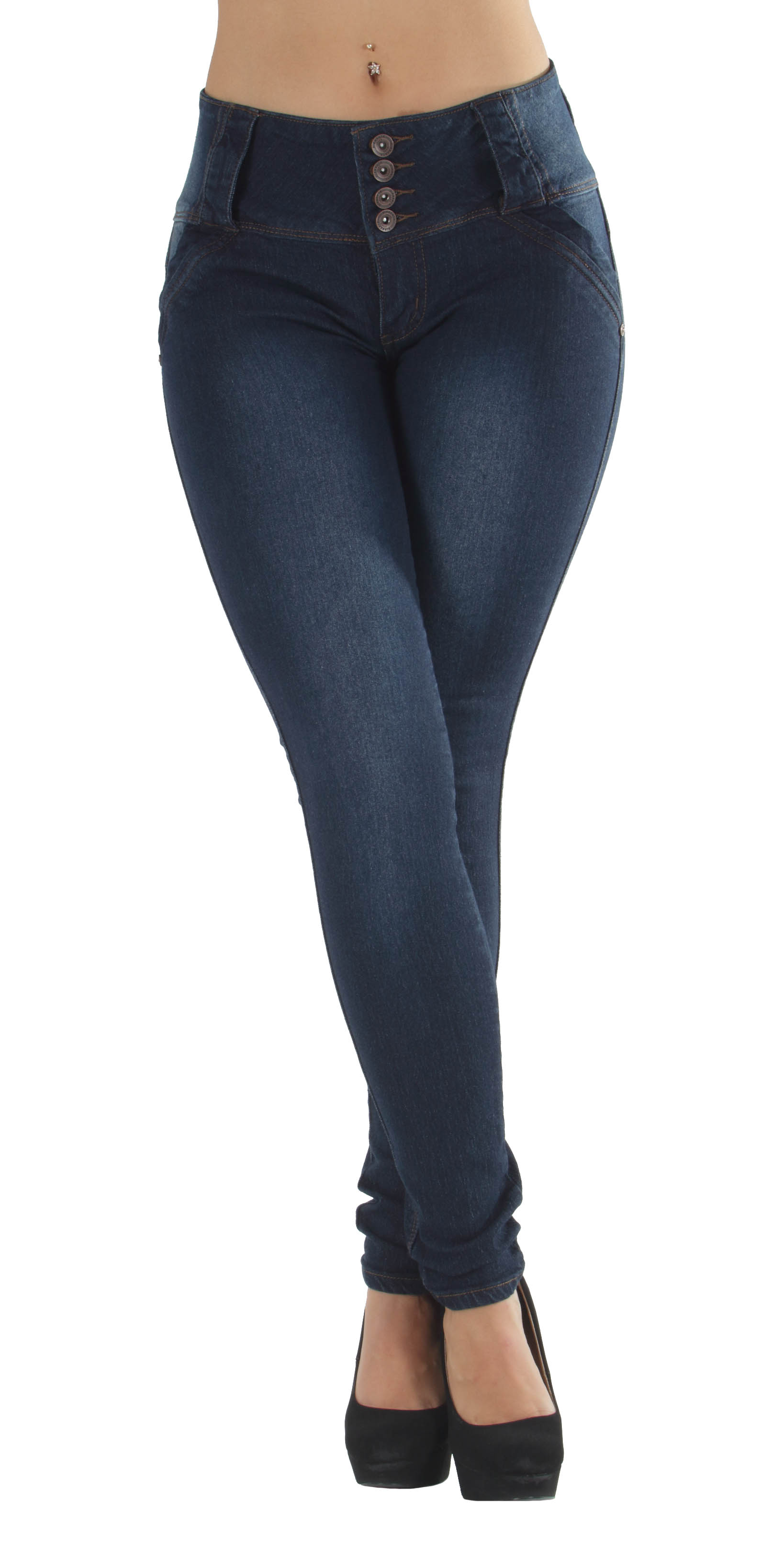 Mid Waist Skinny Jeans Levanta Cola Colombian Design N3558 Butt Lift