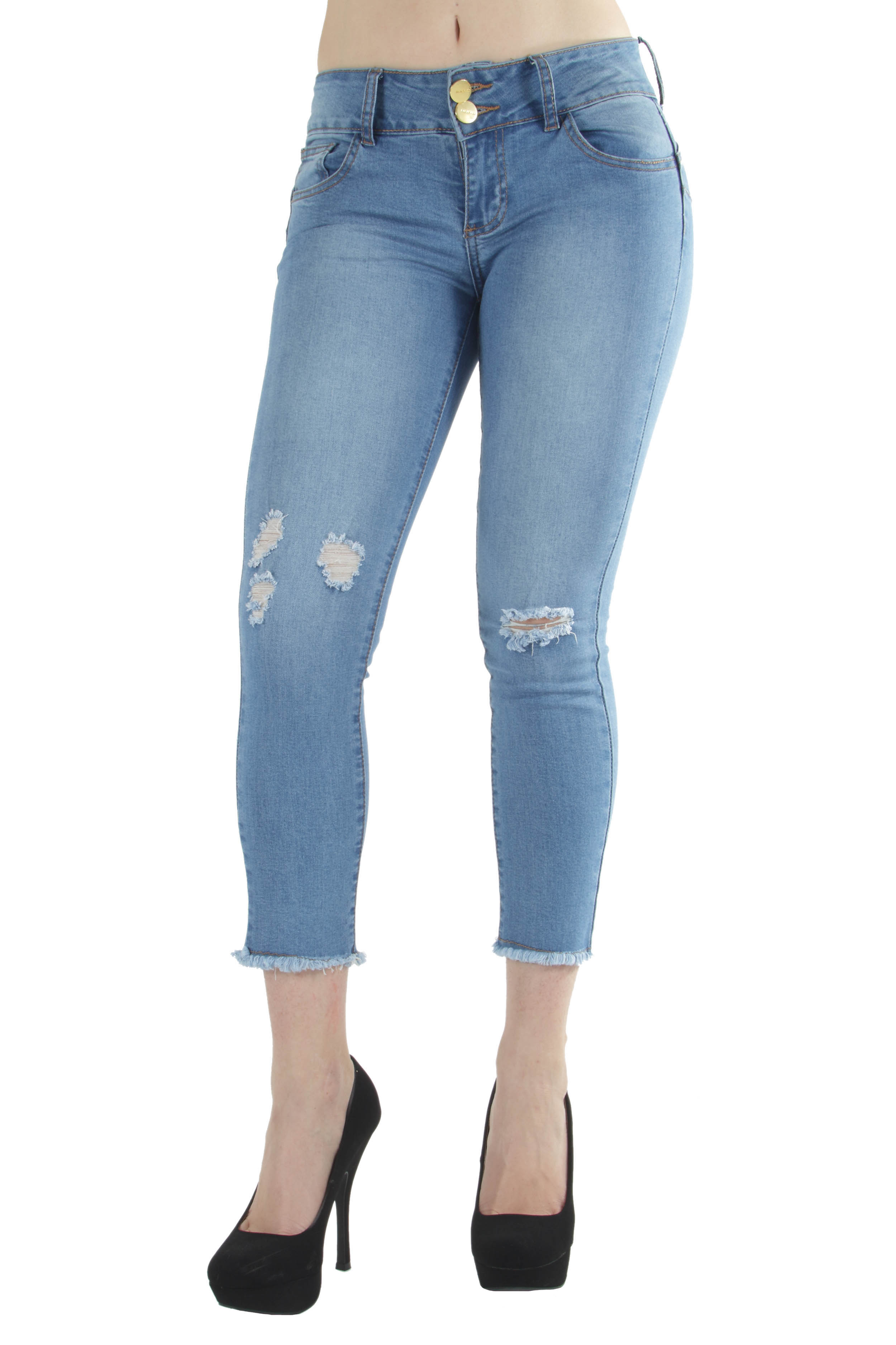 Butt Lifting Premium Skinny Jeans Destroyed Rips above ankle
