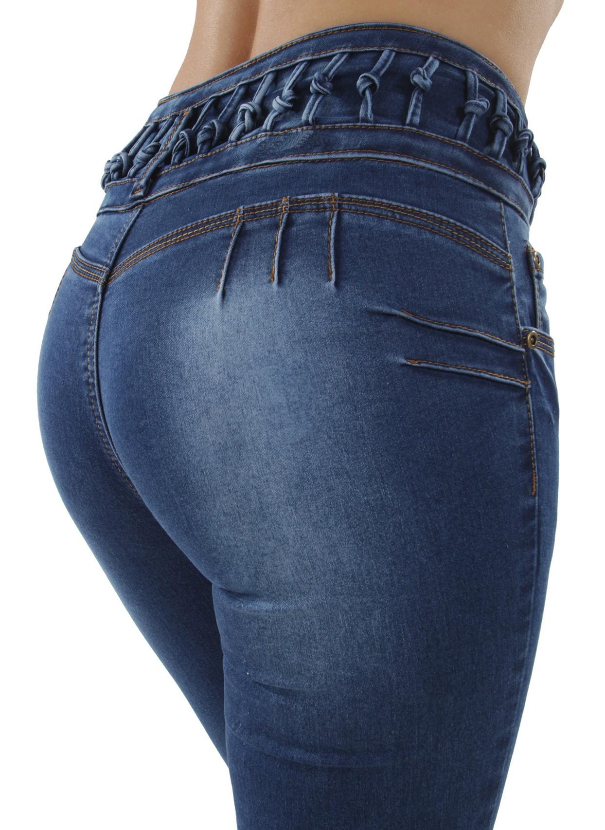 High Waist Skinny Denim Jeans ML2 Colombian Design Butt Lift Push Up Mid