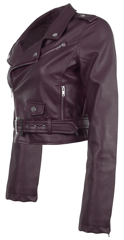 Women/'s Juniors Fashionable Cropped Faux Leather Moto Biker Jacket
