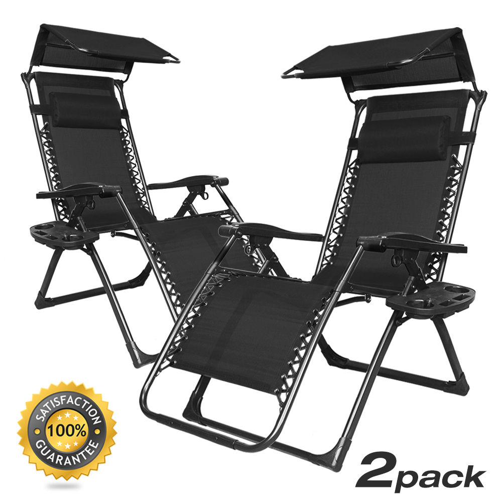 Foldable Zero Gravity Chair Lounge Patio Outdoor Yard Recliner w Sunshade Tr