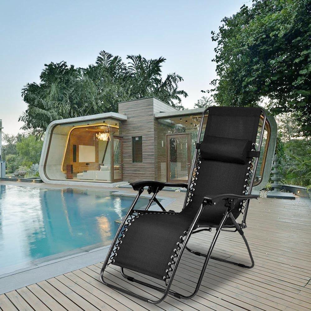 Outdoor Lounge Chair Zero Gravity Folding Recliner Patio