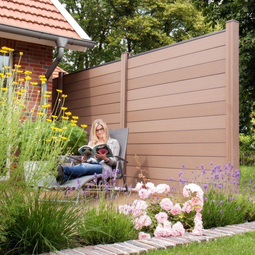 WPC Zaun Sichtschutz Gartenzaun Windschutz Terrasse Garten Beton