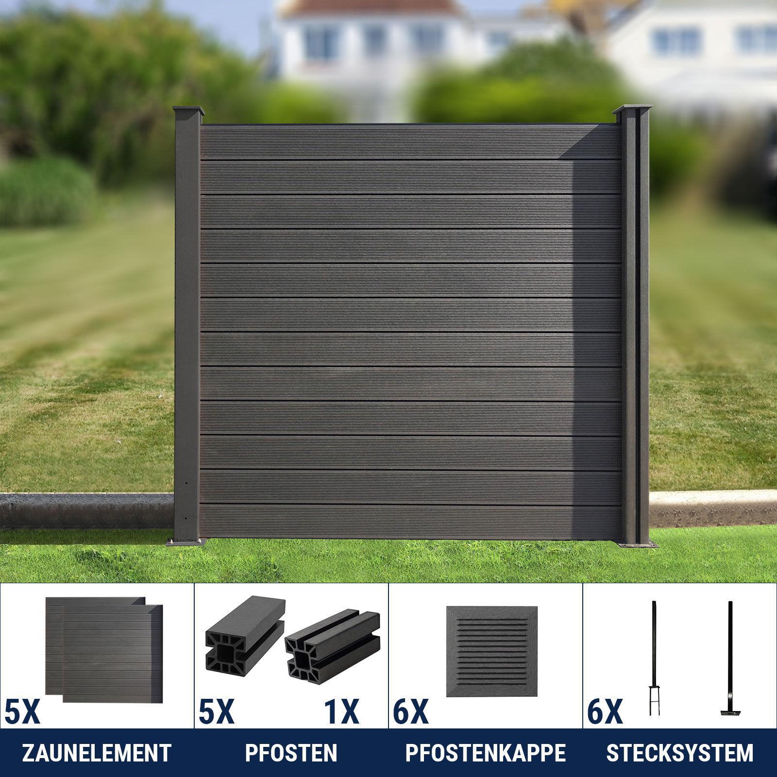 WPC Zaun Sichtschutzzaun Gartenzaun Windschutz Terrasse grau