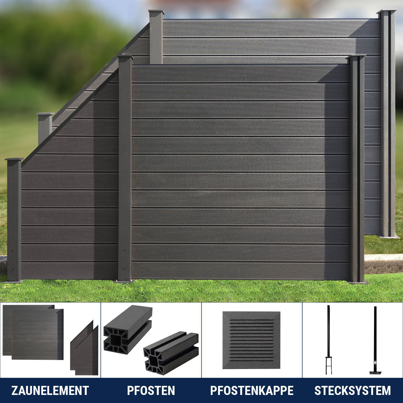 wpc zaun sichtschutzzaun gartenzaun windschutz terrasse grau anthrazit 180 x 180 ebay. Black Bedroom Furniture Sets. Home Design Ideas