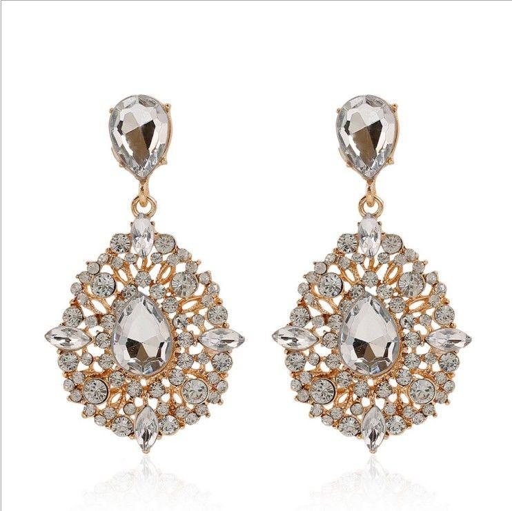 Hot Women Elegant Fashion Rhinestone Ear Stud Dangle Earrings Drop Crystal Chain