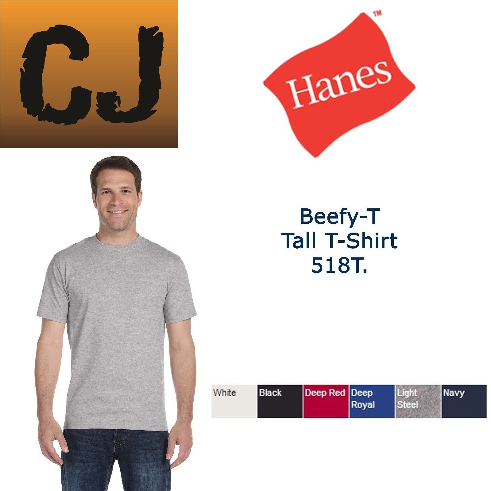 Hanes beefy t tall tagless t shirt new 6 1 oz 100 cotton for Hanes beefy t custom shirts